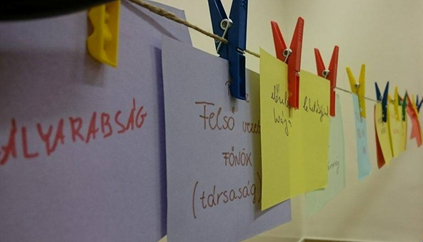 A képen egy tréningen készült lapok láthatók, amelyekre a résztvevők felírták a munkával kapcsolatos félelmeiket.