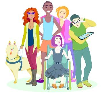 Grafika egy csoport speciális igényű fiatalról